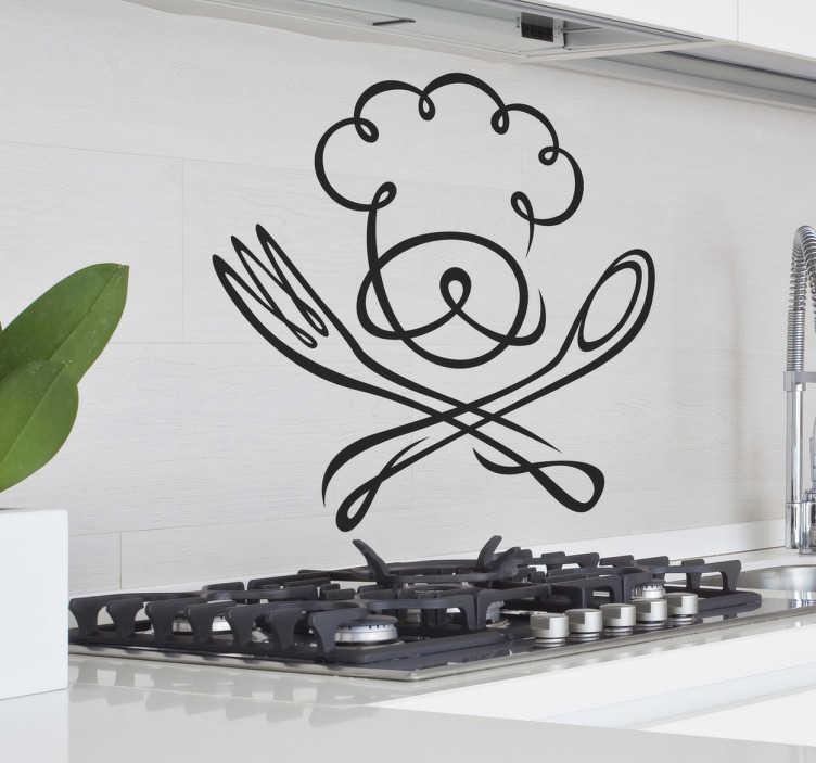 TenStickers. Muursticker Chef Keuken. Een geweldige muursticker met de muts van een chefkok en een vork en lepel afgebeeld. Ideaal voor de aankleding van de keuken. Dagelijkse kortingen.