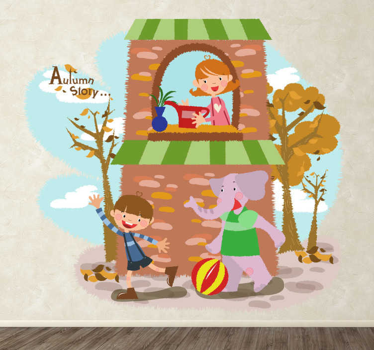 TenStickers. Kids Autumn Elephant Wall Sticker. Kids Wall Stickers-Illustration of a happy young boy playing with his friendly elephant while his mum looks over them from the balcony.