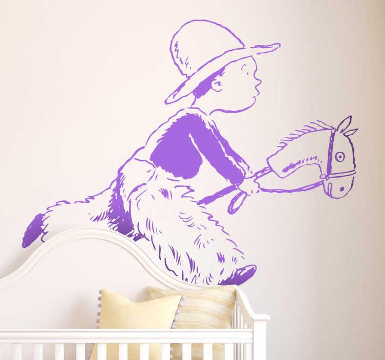 TenStickers. Sticker decorativo gioco cowboy. Adesivo murale raffigurante un bambino travestito da cowboy, mentre cavalca il suo cavallo immaginario.