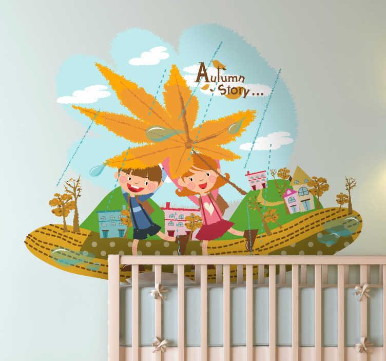 TenStickers. Naklejka dziecięca jesienne zabawy. Naklejka dekoracyjna przedstawiająca dwójkę dzieci na tle wioski.