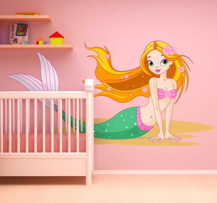 TenStickers. 美丽的美人鱼孩子贴纸. 一个精湛的年轻美人鱼贴花来装饰你女儿的卧室或游乐区。从我们的美人鱼墙贴系列设计!这个色彩缤纷的贴花给她的房间带来了一个全新而有趣的氛围,这将使她的游戏时间更加美好!