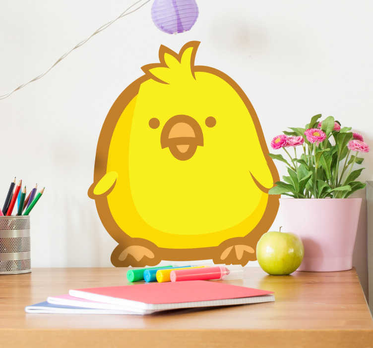 TenStickers. Cute Yellow Chick Decal. Decals - Playful and adorable illustration of a golden yellow baby chicken. Ideal for decorating kids; bedrooms and nurseries