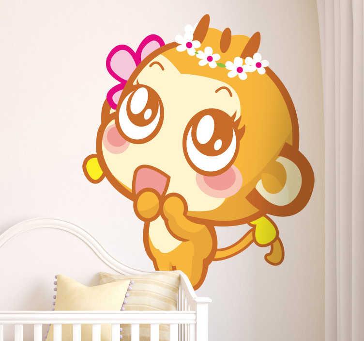 TenStickers. Adesivo bambini scimmietta graziosa. Sticker decorativo che raffigura una graziosa scimmietta dall'aria molto emozionata.