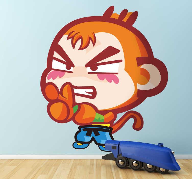 TenStickers. Adesivo bambini scimmia boxer. Sticker decorativo che raffigura una simpatica scimmia dall'aria molto determinata, mentre indossa i suoi guantoni da box.
