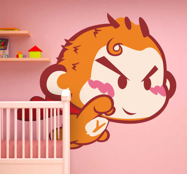 TenStickers. Adesivo bambini superscimmia. Sticker decorativo che raffigura una scimmietta nei panni di un supereroe mentre sorvola la cittá.