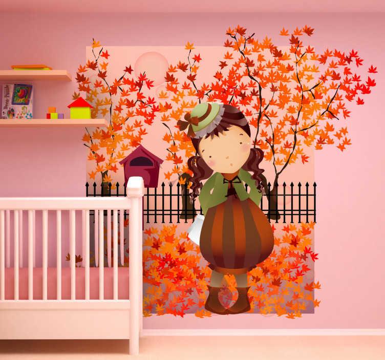 TenStickers. Naklejka dziewczynka jesienią. Ładna naklejka na ścianę przedstawiająca dziewczynkę stylowo ubraną w trakcie spaceru.