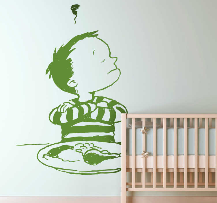 TenStickers. Kids Stubborn Dinner Time Wall Sticker. Kids Wall Stickers - Illustration of a little stubborn naughty boy refusing to eat his dinner. Ideal for decorating areas for children.