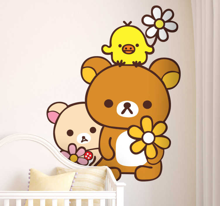TenStickers. Teddy Bears and Chicken Friends Decal. Kids Wall Stickers - Playful and adorable illustration of two teddy bears and a friendly chick all holding a flower. Ideal for decorating kids rooms