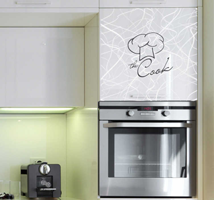 TenStickers. The Cook Wall Sticker. Kitchen wall sticker for the master chef in the house. Monochrome cook wall sticker for setting the atmosphere for preparing, cooking and eating food in your kitchen, available in various sizes and colours to personalise your home in a unique and interesting way.