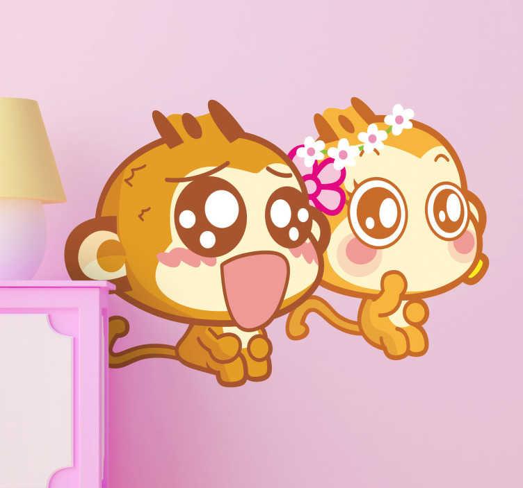 TenStickers. Adesivo bambini scimmiette bebé. Sticker decorativo in stile manga, che raffigura due giovani scimmiette dall'aria molto sorpresa. Ideale per la camera dei bimbi.