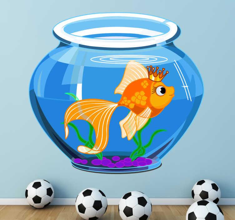 TenStickers. Naklejka dla dzieci akwarium. Urocza naklejka na ścianę dla dzieci przedstawiająca akwarium z królową złotą rybką.
