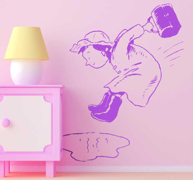 TenStickers. Sticker enfant flaque d'eau. Adhésif créatif d'une fillette de retour de l'école qui s'amuse en sautant avec dans une flaque d'eau.