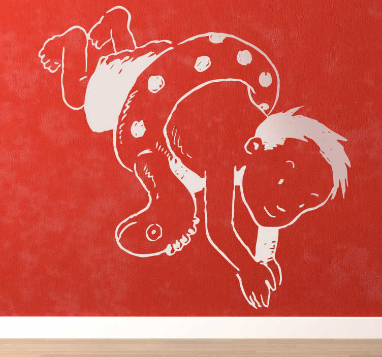 TenStickers. Sticker decorativo tuffo in acqua. Adesivo murale raffigurante un bambino nell'atto di tuffarsi, con indosso una simpatica ciambella a forma di dinosauro.