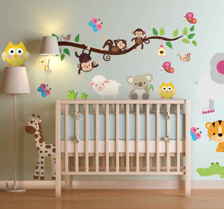TenStickers. Naklejka na ścianę dla dzieci dżungla. Naklejka na ścianę do pokoju dziecięcego przedstawiająca gałązkę, a wokół niej różne zwierzęta. Kolorowe naklejki na ścianę dla dzieci.