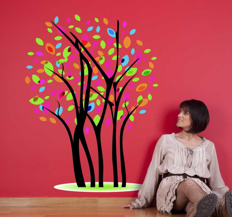 TenStickers. Muursticker Boom Gekleurde Blaadjes. Een leuke muursticker van een boom met gekleurde blaadjes. Een leuk idee voor de decoratie van verschillende ruimten in uw huis.