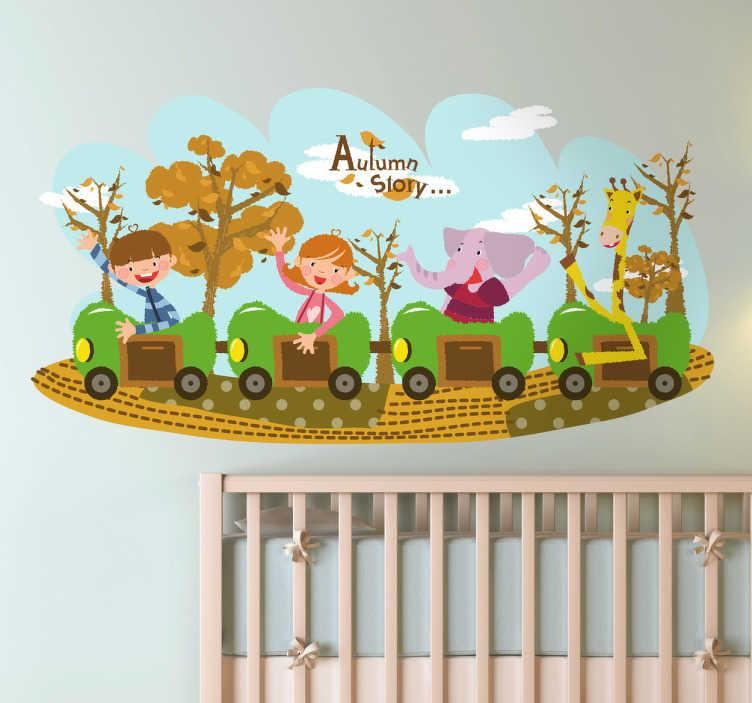 TenStickers. Sticker decorativo trenino autunnale. Simpatico adesivo murale che raffigura un trenino a quattro vagoni, sul quale viaggiano un bambino, una bambina, un elefantino e una giraffa.