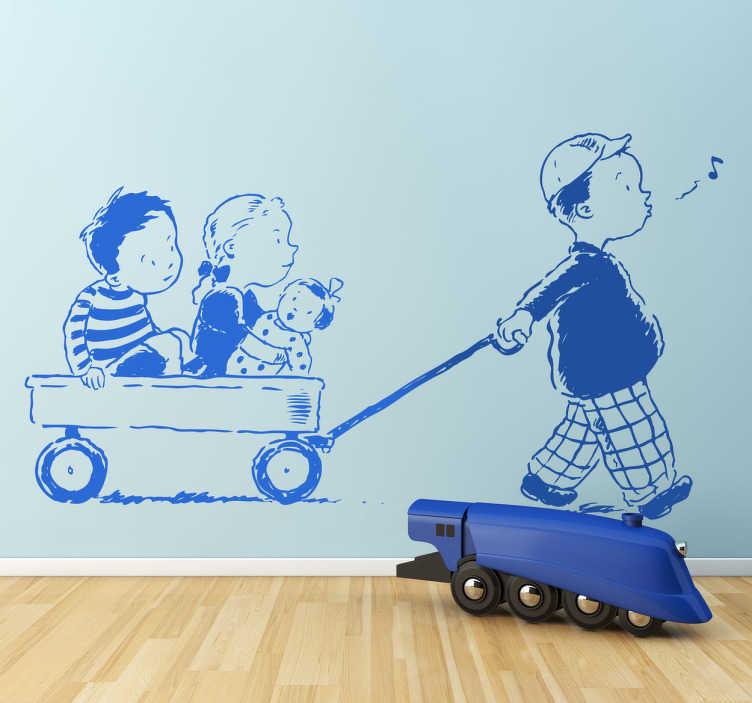 Naklejka na ścianę dla dzieci wózek dla dzieci