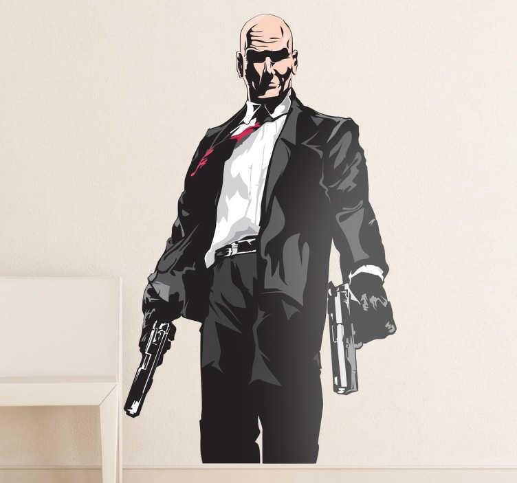 TenStickers. Sticker decorativo Hitman a colori. Adesivo murale che raffigura il famoso agente 47 protagonista della serie di videogiochi d'azione creata dalla IO Interactive.