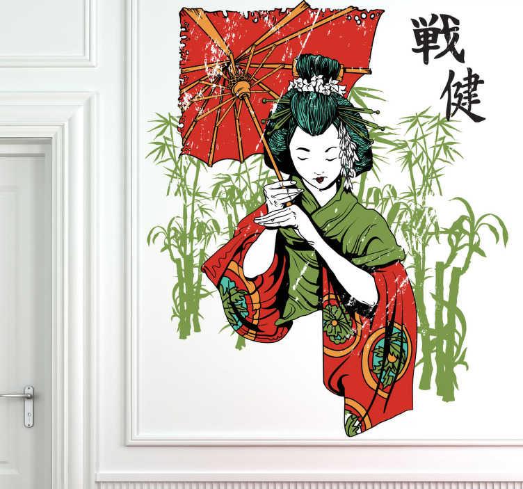 TenStickers. Naklejka ścienna gejsza w ogrodzie. Spektakularna naklejka przedstawiająca gejszę w czerwono-zielonym kimono, trzymającą czerwoną wyróżniającą się parasolkę, otoczoną zielonymi pędami bambusa.