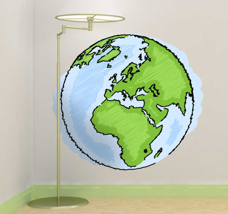 TenStickers. Sticker kinderen Aardbol. Een leuke muursticker met een afbeelding van planeet aarde. Een leuk idee voor het decoreren van de slaapkamer of speelhoek van uw kinderen.