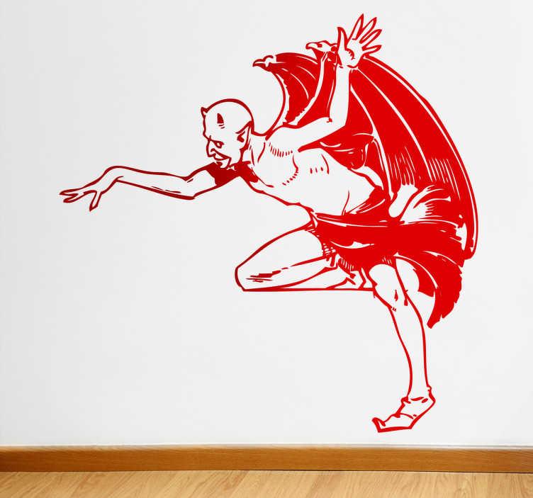 TenStickers. Naklejka Lucyfer. Naklejka na ścianę przedstawiająca mroczną postać sztana z wielkimi skrzydłami.