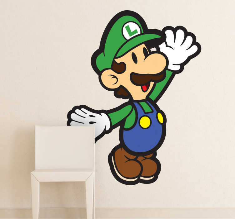 TenStickers. Sticker décoratif mural Luigi. Sticker mural du frère de Mario : Luigi. À tous les amoureux du célèbre jeu de plateforme, ce sticker est fait pour vous !