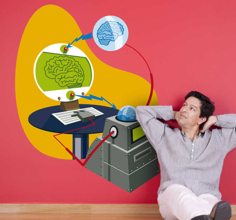 TenStickers. Brain Machine Wall Sticker. Wall Stickers - Illustration of a scientific brain machine. Fun and playful design.