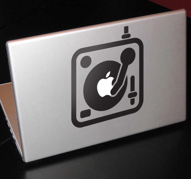 TenStickers. Skin adesiva console dj per Mac. Sticker decorativo per notebook, raffigurante un mixer stilizzato. Ideale per DJ e amanti della musica remixata.