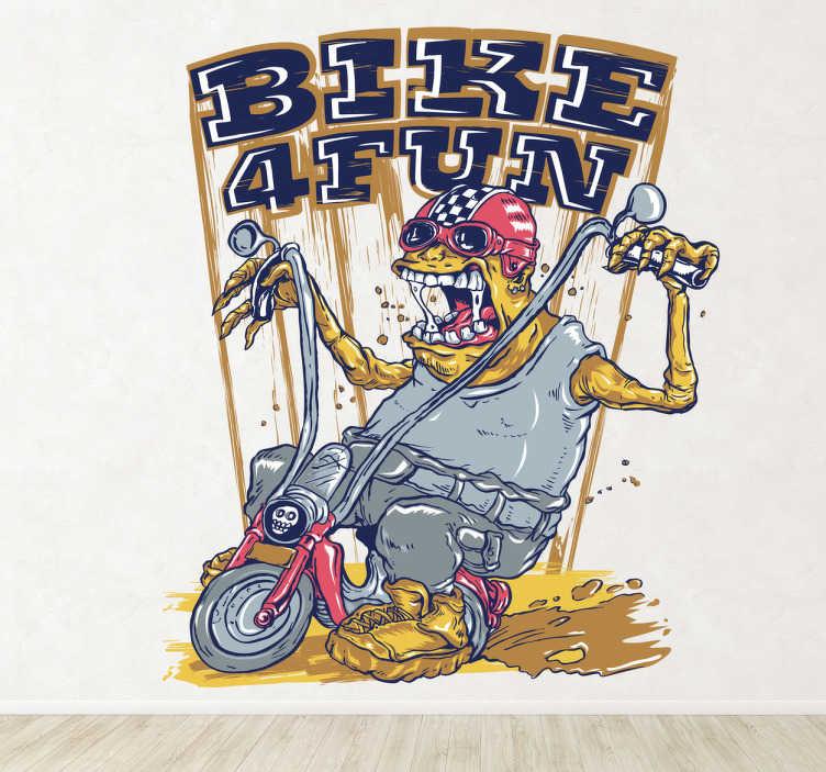 TenStickers. Sticker monstre moto. Stickers pour fans de moto illustrant une créature étrange sur une Harley Davidson.