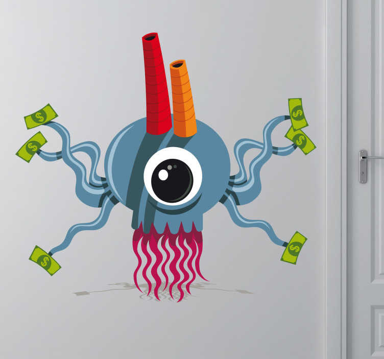 TenStickers. Money Factory Wall Sticker. A monster wall sticker controlling a money factory! Funny decal to decorate any empty space at home.