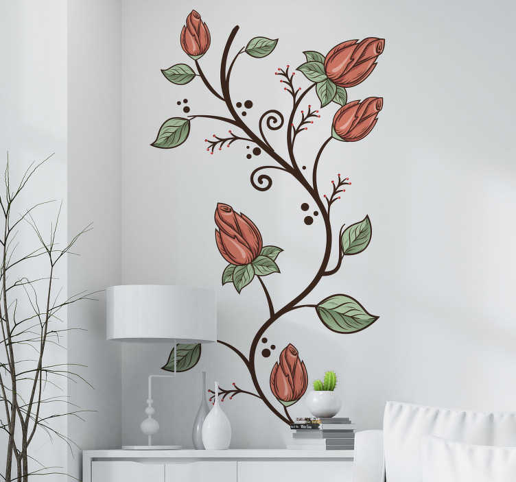 TenStickers. Blumen Dreieck Aufkleber. Bringen Sie den Frühling in Ihre Küche! Dieser tolle Sticker mit Blumenmuster verschönert jede langweilige Kühlschranktür.