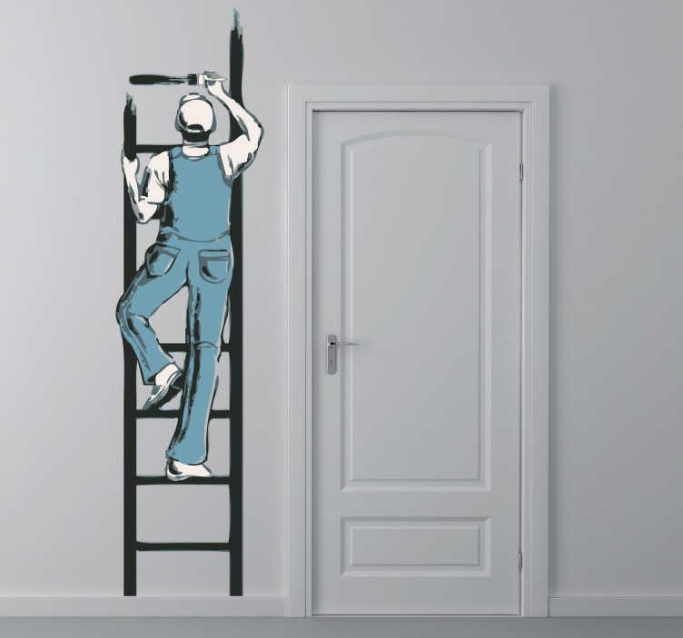 TenStickers. Naklejka malarz na drabinie. Naklejka na ścianę przedstawiająca malarza w niebieskim kombinezonie wspinającego sie po drabinie.