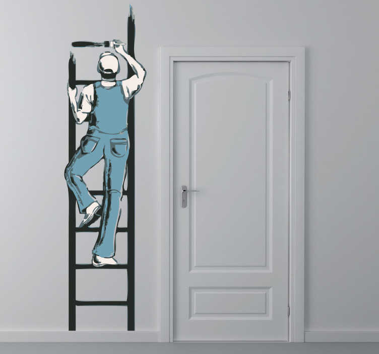 Vinilo decorativo pintor escalera