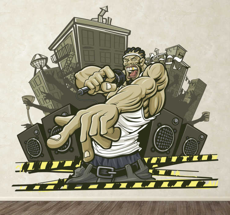 TenVinilo. Vinilo decorativo rapero urbano. Detallado dibujo adhesivo de un fornido cantante de hip hop con fondo de ciudad y bafles.