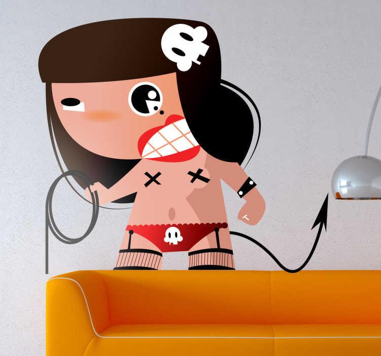 TenStickers. Sticker decorativo sadomaso comic. Adesivo murale che raffigura una ragazza sadomasochista armata di frusta. Una decorazione davvero alternativa per la camera da letto.