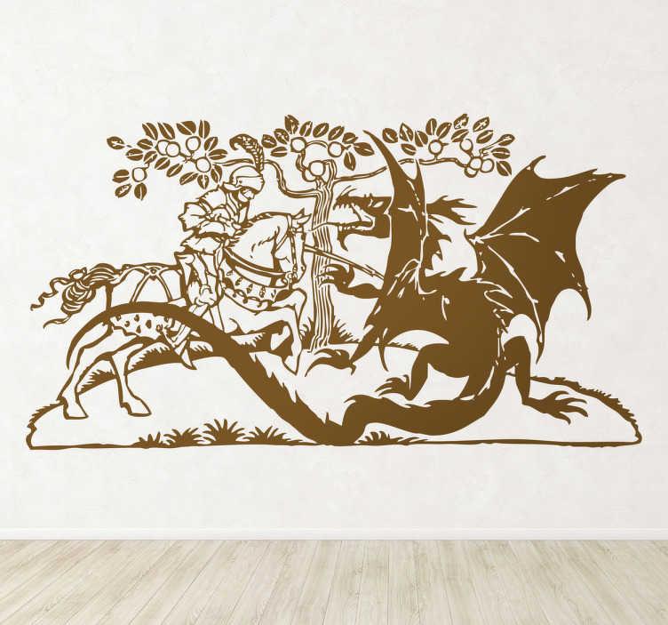 TenStickers. Naklejka dekoracyjna Święty Jerzy i Smok. Naklejka na ścianę z postacią świętego jerzego walczącego z smokiem ziejącym ogniem. Aranżacja wnetrza dla fana legend, smoków i średniowiecznych rycerzy.
