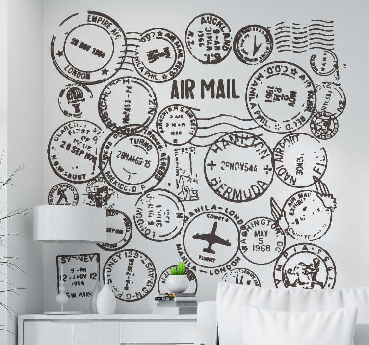 TenStickers. Passport Stamps Travel Sticker. Do you like to travel? Show it off to your guests with this travel decal illustrating a collection of passport stamps to decorate your home. A collection of stamp stickers to give your home a more original and unique appearance!