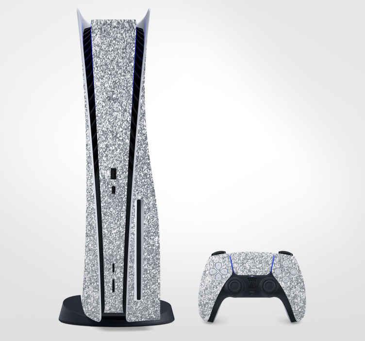 TenStickers. Vinil Skin para PS5 Pele prateada brilhante. Você adoraria decorar seu console de jogo e controlador com nosso vinil autocolante decorativo ps5 com pele de prata brilhante original feito de vinil de qualidade 100%. Fácil de aplicar.