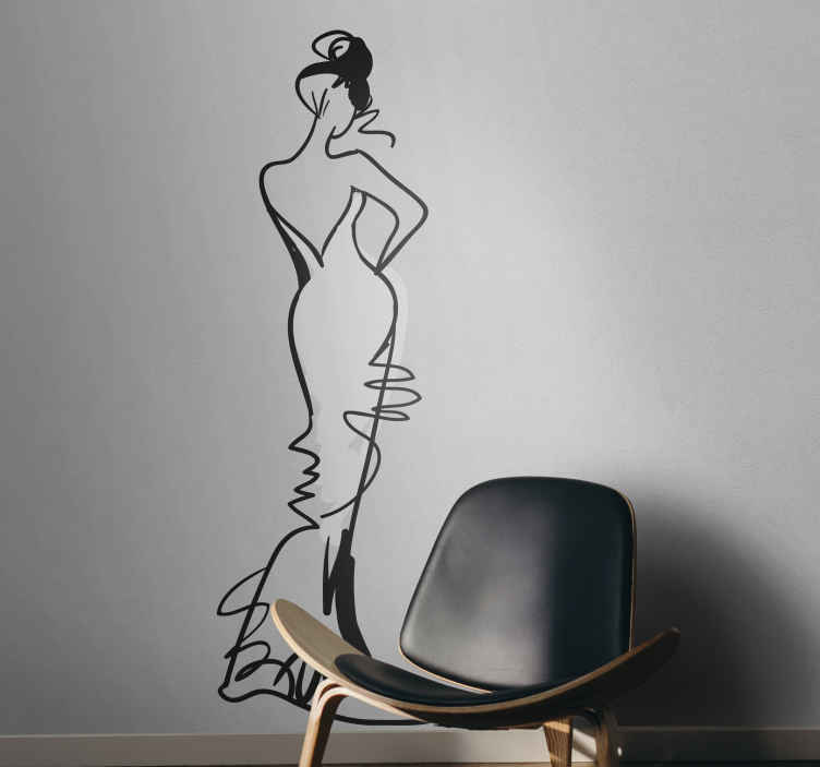 TenStickers. Full Body Female Wall Sticker. Wall Stickers - Sensual and artistic illustration of a female in a swim suit. Available in various sizes and also in 50 colours.