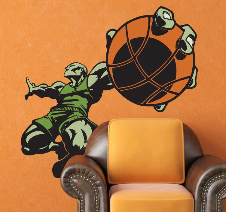TenVinilo. Vinilo decorativo superjugador basket. Espectacular pegatina de un jugador de baloncesto de color verde a punto de hacer un mate