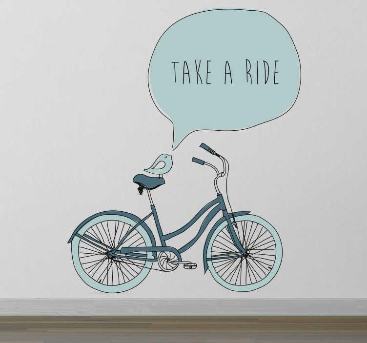 TenStickers. Sticker take a ride. Allez faire un tour et prendre l'air avec cet original dessin de bicyclette sur sticker.
