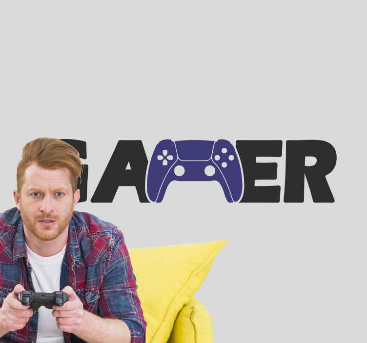Image of Adesivo per vetro Logo del giocatore con joystick