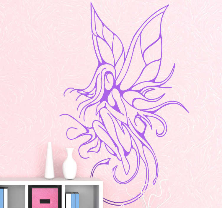 TenStickers. Vinil decorativo fada alada. Vinil decorativo de uma fada alada. Adesivo de parede de um ser mágico. Autocolantes para decoração de interiores.