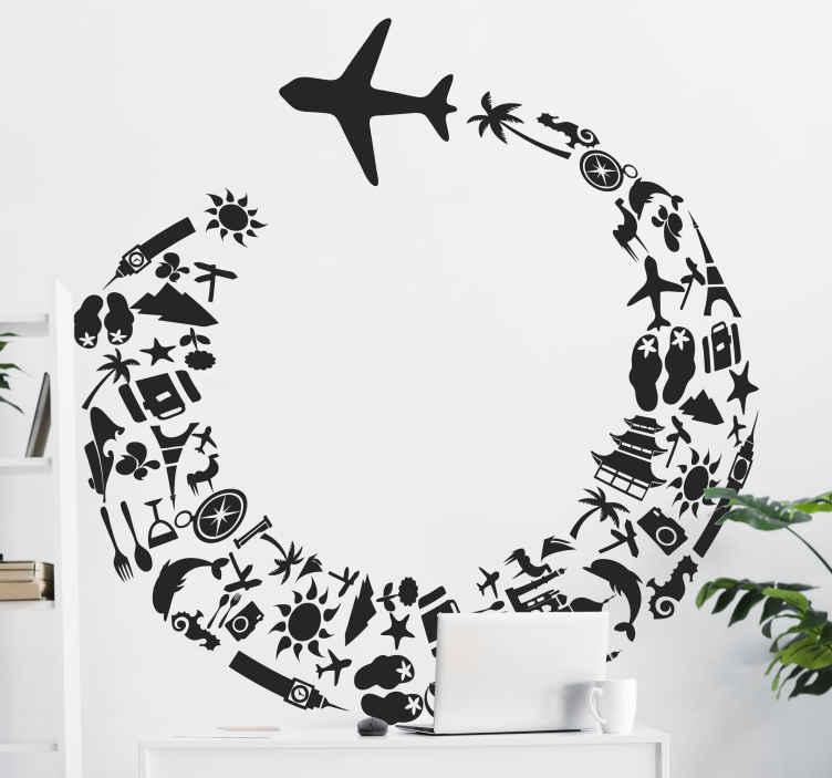 TenStickers. Sticker decorativo vacanze aereo. Adesivo murale che raffigura la silhouette di un aereo di linea che vola lasciandosi dietro una scia di icone relazionate al mondo dei viaggi.
