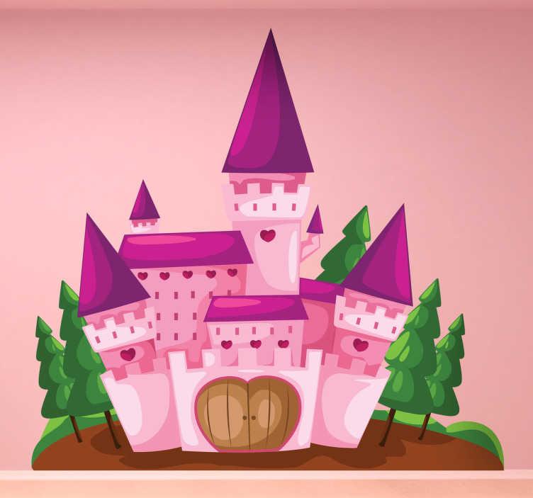 TenStickers. Naklejka dla dzieci różowy zamek. Naklejka dekoracyjna przedstawiająca legendarny zamek, z oknami i drzwiami w formie serca.