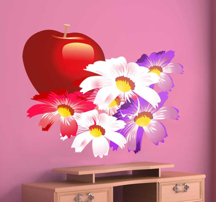 Autocollant mural pomme et fleurs tenstickers for Autocollant dcoratif mural