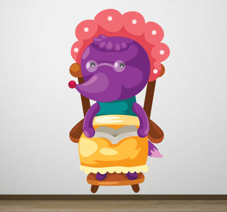 TenStickers. Sticker enfant loup déguisé. Stickers faisant référence au conte du Petit Chaperon Rouge, lorsque le loup se déguise en la grand-mère.Utilisez ce stickers pour personnaliser des objets ou les murs de la chambre d'enfant.