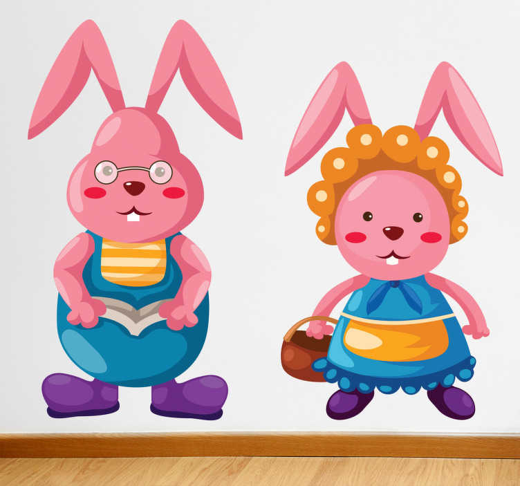 TENSTICKERS. 子供のためのピンクのバニーの壁のステッカーのカップル. あなたの子供の寝室の壁に人間として身に着けている2つのピンクのバニーを描写したこのすばらしいステッカーで飾ってください!