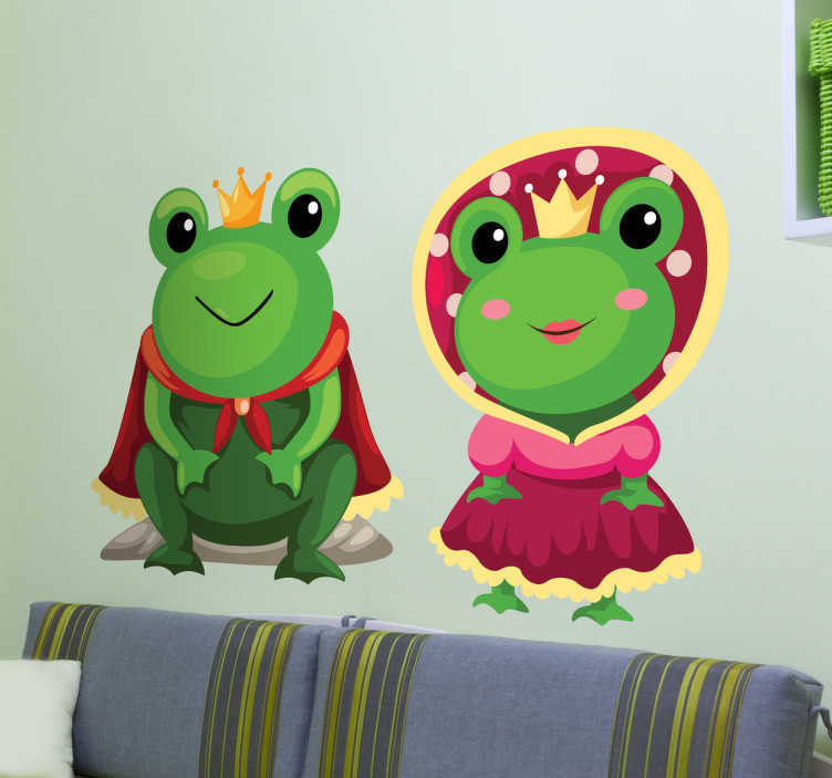 TenStickers. King and Queen Frogs Kids Sticker. A fun fairy tale wall sticker illustrating a king frog and a queen frog with their robes and crown. Great frog decal for those animal lovers! Do your children love fairy tales and fantasy? This superb set of two stickers is perfect to provide your children with a magical atmosphere.