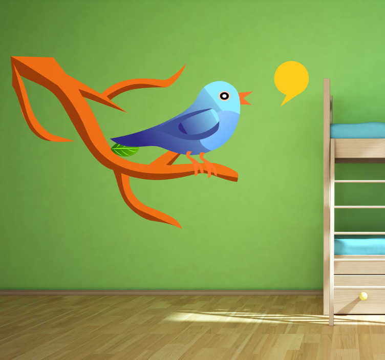 TenStickers. Singendes Vögelchen. Ein blauer Vogel auf einem Ast am zwitschern. Verzieren Sie das Kinderzimmer mit diesem besonderen Wandtattoo.